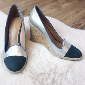 Tommy Hilfiger | Blue and Silver Cork Wedges 9.5